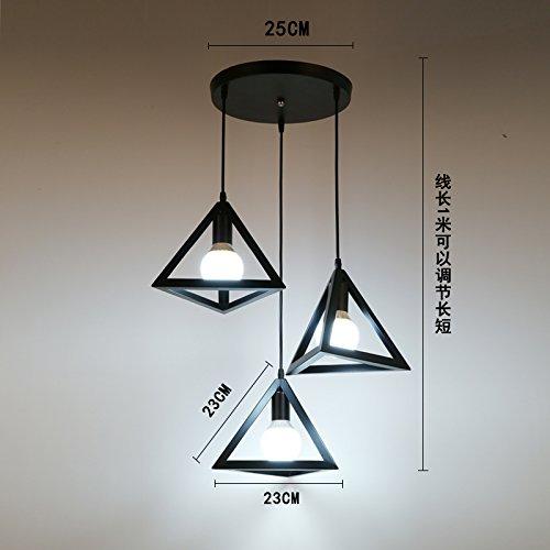 Luckyfree Kreative Modern Fashion Anhänger Leuchten Deckenleuchte Kronleuchter Schlafzimmer Wohnzimmer Küche, schwarzes Dreieck 3-Disc Combo 3-farbige Licht (3 Light-anhänger-dreieck)