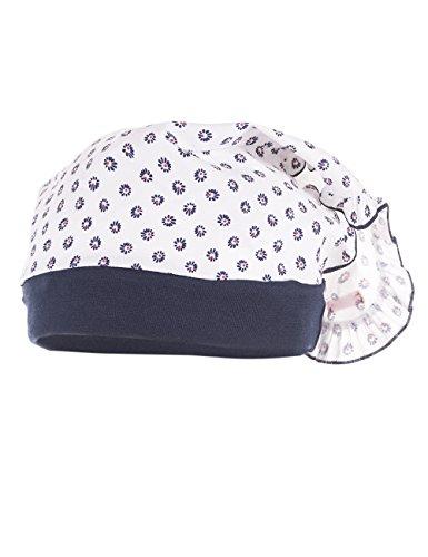maximo Baby-Mädchen Mütze Kopftuch mit Rüsche, Mehrfarbig (Weiss-Navy-Blüten 25), 51