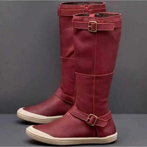 PIAOLDXZ Stivali Stivali Autunno Inverno Impermeabili da Donna Stivali Comodi Stivali da Moto Taglie Forti Scarpe da Do