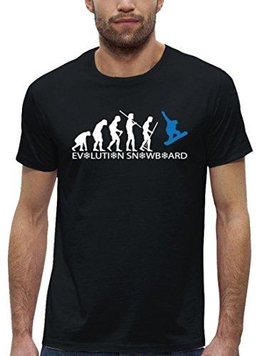 Wintersport Premium Herren T-Shirt aus Bio Baumwolle EVOLUTION SNOWBOARD 2.0 Marke Stanley Stella Black