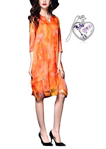 Leona-de 2017 Damen 3/4 Ärmeln Seide Bedrucktes Kleid Organza-Kleid Plus Size (L, Orange)