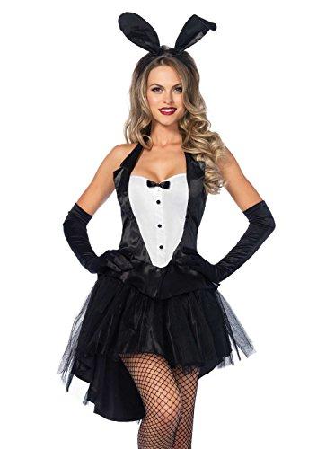 LEG AVENUE 83951 - 3Tl. Tuxedo Top, Tutu Rock Mit Schwanz Und Ohr Stirnband, Größe XS, schwarz/weiß, Damen Karneval Kostüm Fasching