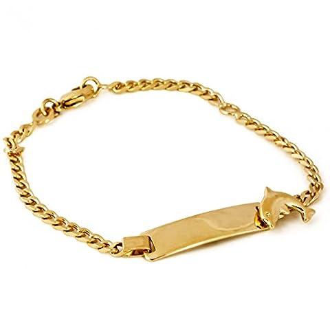 ISADY - Dolphy Gold - Bracelet Enfant - Plaqué Or 750/000 (18 carats) - Gourmette à graver - Animal - Dauphin - Gravure Offerte - Longueur 16 cm