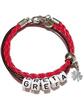 ARTemlos® Handgefertigtes Kinder-Armband mit Name aus Edelstahl und Leder (017)