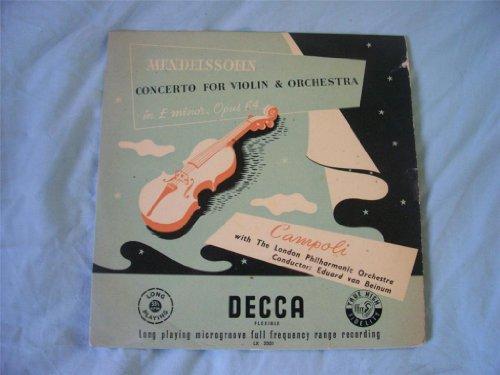 "LX 3001 CAMPOLI Mendelssohn Concerto Violin 10"" LP"