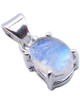 Regenbogen Mondstein Sterling Silber Anhänger - Stein Größe 6x8mm
