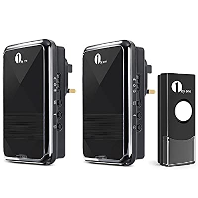 1byone Easy Chime Wireless Doorbell Kit with CD Quality Sound and LED Flash 36 Melodies to Choose¡