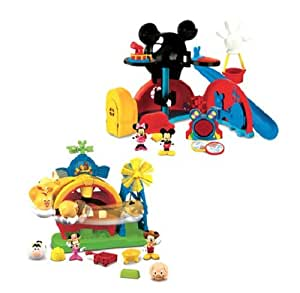 Mickey Mouse World Clubhouse + Farm Playset (2+ Years)-Farm Playset includes Mickey and Minnie figures, 3 animal rounds and a wheelbarrow.