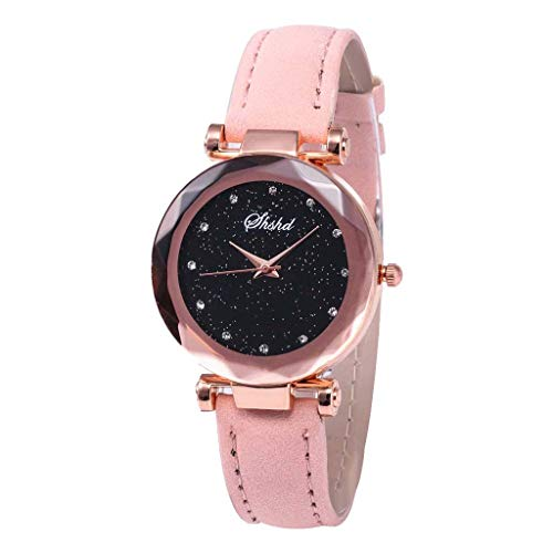 XZDCDJ Damen Uhr Armbanduhr Bracelet Jungen Uhr Mode Inlay Diamant Sternenzifferblatt Quarz Ledergürtel DamenuhrRosa345 -
