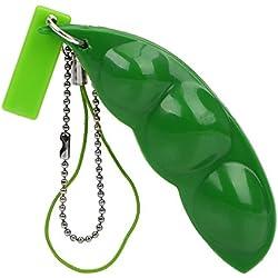 iTimo KFZ Schlüssel Ringe Sojabohne edmamame Schlüsselanhänger Extrusion PEA Bean Creative Fun Bohnen Spielzeug Stress lindern Schlüsselanhänger Auto Ornament
