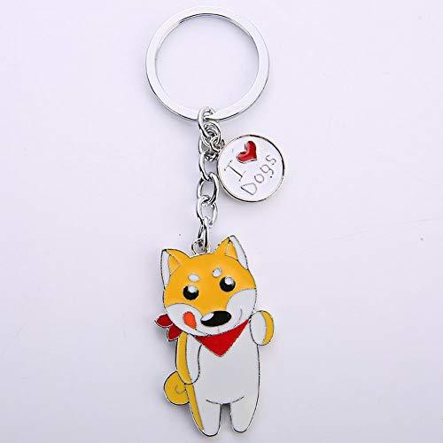 RENNICOCO Dog ID Tag Auto Schlüsselanhänger, niedlicher Hund ID Tags Metall Schlüsselanhänger Auto Schlüsselanhänger, Shiba Inu, 50 * 30mm -