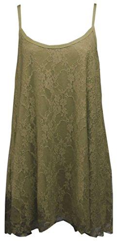 Flirty Wardrobe Débardeur à fines bretelles pour femme Dentelle florale Swing Robe avec taille 12–26 Noir - Moka