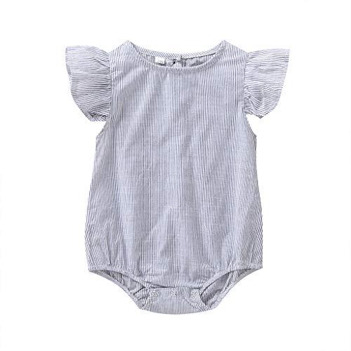 Livoral Baby Born Kleidung Set Sommer-Säuglingsbaby-ärmellose Knopf-Streifen-Spielanzug-Bodysuit-Kleidung(Weiß,90)