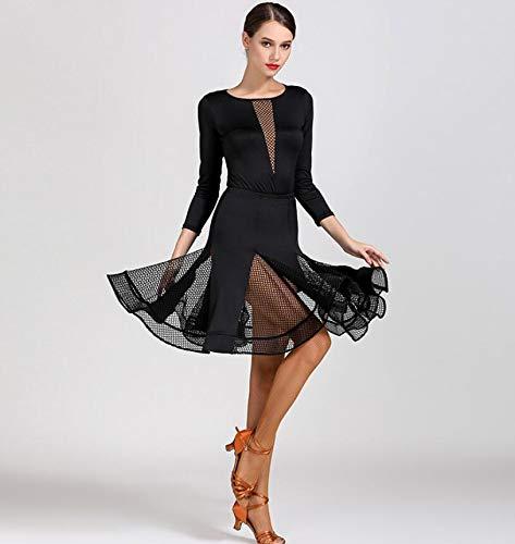 QMKJ Latin Dance Kleid für Frauen Gesellschaftstanz professionelle V-Ausschnitt Mesh Rock schlanke Version Design tägliche Praxis Tango Cha Cha Dance Kostüme - Tanz Kostüm Mädchen Großbritannien