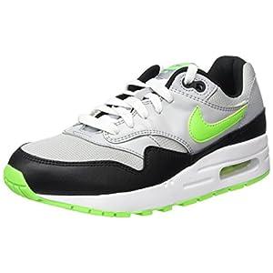 Nike Unisex-Kinder Air Max 1 (GS) Low-Top, Mehrfarbig (Wolf Grey/Elctrc Grn-Blk-White), 38.5 EU