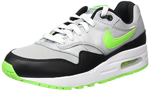 Nike Air Max 1 (Gs), Baskets Basses Mixte Enfant Multicolore (Wolf Grey/Elctrc Grn/Blk/White)