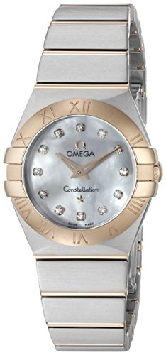 Omega Constellation Diamond Mother of Pearl Dial Rose Gold and Stainless Steel Ladies Watch 123.20.24.60.55.001