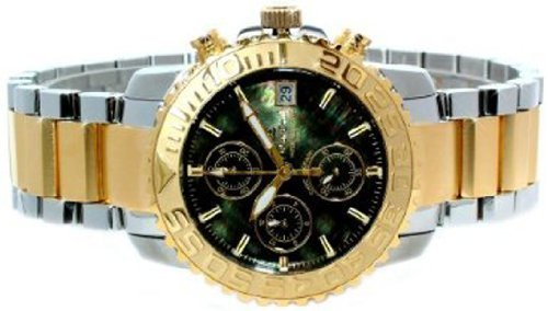 Oskar Emil Gents Bermuda 23K Gold Steel Chronograph Sports Watch with MOP Black Dial
