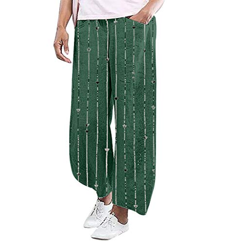 Makefortune  Womens Plus Size Stretch High Waisted Wide Leg Pants Stripe Print Culottes Ladies Outdoor Straight Trousers with Pockets