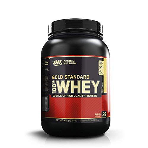 Optimum Nutrition ON Gold Standard Whey Protein Pulver, Eiweißpulver Muskelaufbau mit Glutamin und Aminosäuren, natürlich enthaltene BCAA, French Vanilla Crème, 29 Portionen, 900g