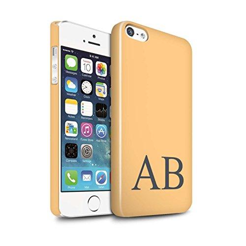 Personalisiert Pastell Monogramm Glanz Hülle für Apple iPhone SE / Grünes Design / Initiale/Name/Text Snap-On Schutzhülle/Case/Etui Orange