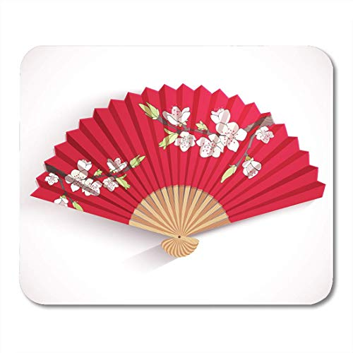 Mouse Pads Japan Red Chinese Folding Fan Japanese Flower Pattern Geisha Mouse Pad for notebooks, Desktop Computers mats Office Supplies - Red - Japanese Folding Fan