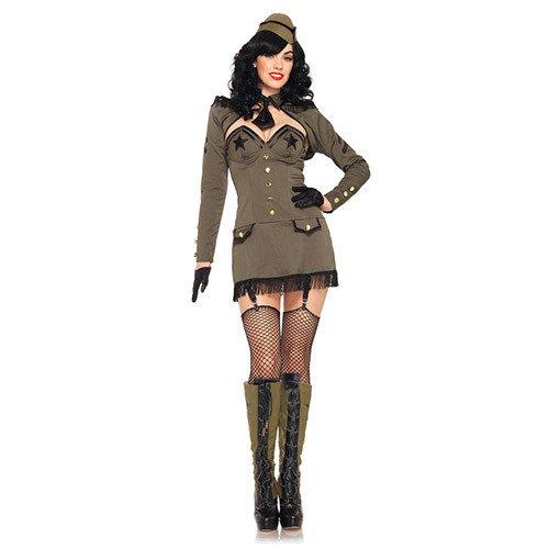 Leg Avenue 83955 - Pin Up Army Girl Kostüm, Größe L, khaki