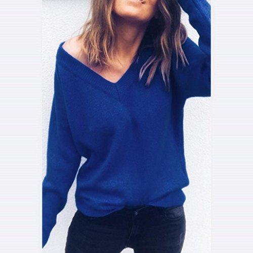 Angelof Pull Brillant Col V Femmes Fine Maille Oversize Blouse Femme Chic Manche Longue Pull Uni Courte Ado Fille Bleu