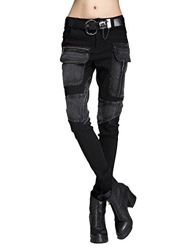 Idopy Punk Style Mujeres Slim Fit Jeans Pants Pantalones Set