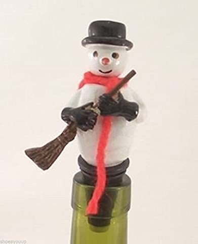 Wobbly Snowman Wine Saver Bottle Stopper / Novelty Cake Decoration + Gift Box