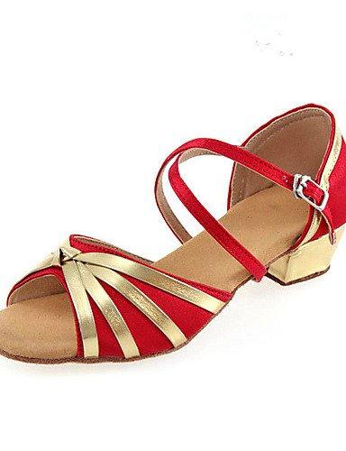 Sandales mode moderne pour enfants personnalisables Non et des femmes Chaussures de danse latine Tissu Tissu talons Talon débutant Noir Bleu Rouge US3.5 / EU35 / UK2.5 Big Kids