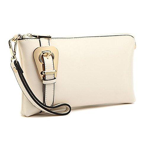 H&W Donna Pelle Vera Clutch Borsa Con Cinturino Polso Rosa Bianco