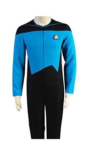 Star Jumpsuit Trek Kostüm - Elecos Star Trek TNG Cosplay Captain Jumpsuit Uniform Herren Blau XL