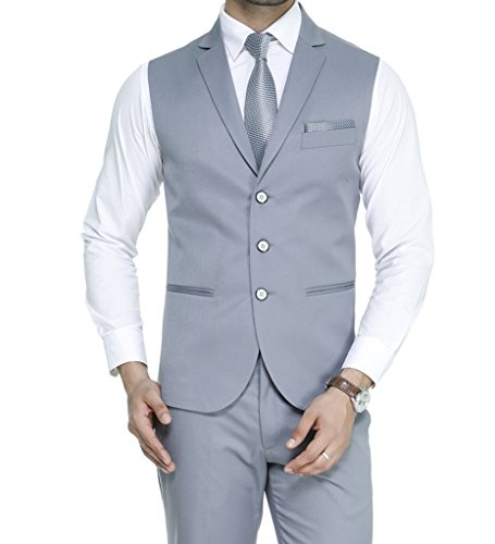 ManQ Men's Single Breast Three Button Slim Fit Formal/Party Waist coat (S20)
