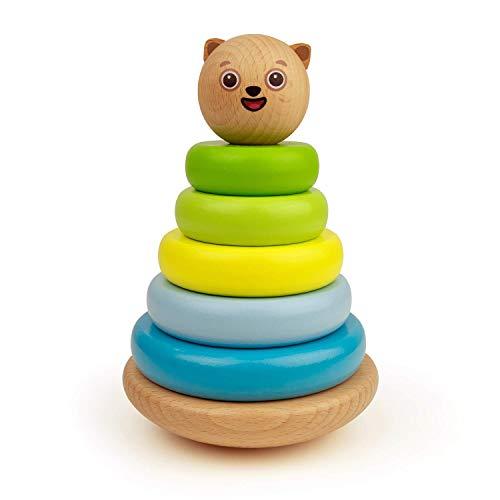 Bimi Boo Baby Stapelturm aus Holz - Steckspiel für Kindergartenkinder und Kleinkinder im Alter von 2 bis 5 (Stapelspiel Pyramide, 6 Teile)
