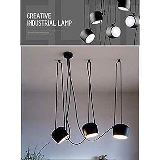 Ruixf E27 Loft Chandelier Luce da Pranzo Industriale Moderna Lampada a Sospensione Plafoniera Regolabile in Lunghezza (No Lampadine)