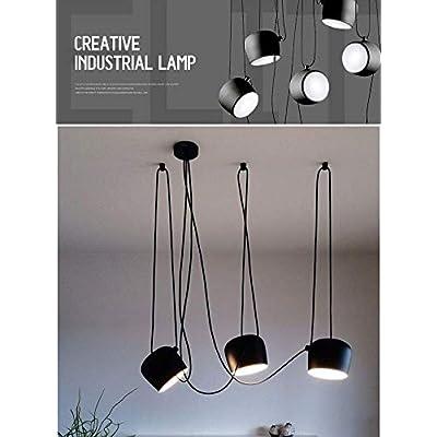 Ruixf E27 Loft Chandelier Luce da Pranzo Industriale Moderna Lampada a Sospensione Plafoniera Regolabile in Lunghezza (No Lampadine) (3 Teste,Nero)