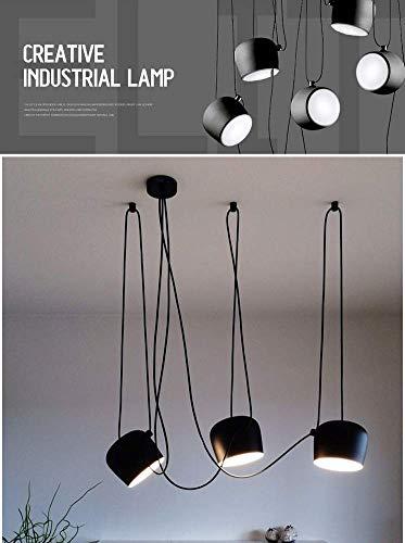 5-licht-esszimmer-kronleuchter (Ruixf E27 Loft Kronleuchter Moderne Industrie Esszimmer Licht Hängelampe Einstellbare DIY Deckenleuchte Pendelleuchte (Keine Glühbirnen) (5 Köpfe,Schwarz))