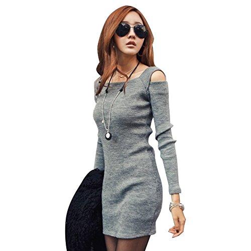 Eleery Sexy Schulterfrei Langarm figurbetontes Kleid Einfabrig Boot-Ausschnitt Strick-kleid Fashion Grau