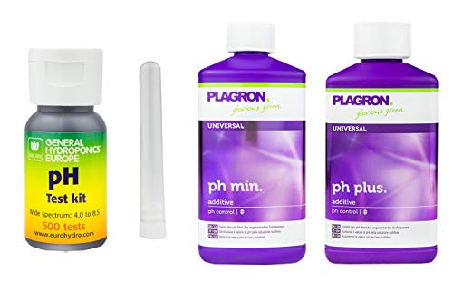 GHE pH-Wert-Messgerät Kit mit 500 Tests + 500 ml Plagron Ph-Plus + 500 ml Plagron Ph-Minus - pH Teststreifen Pool Wassertester Pool Test pH-Streifen pH-Messgerät pH-Tester Pool Messgerät