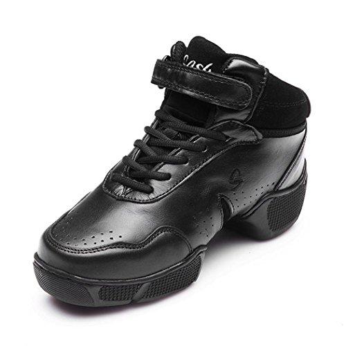 ZQ@QXAumentato di fondo traspirante confortevole soft scarpe fondo square dance e danza moderna scarpe Black 1
