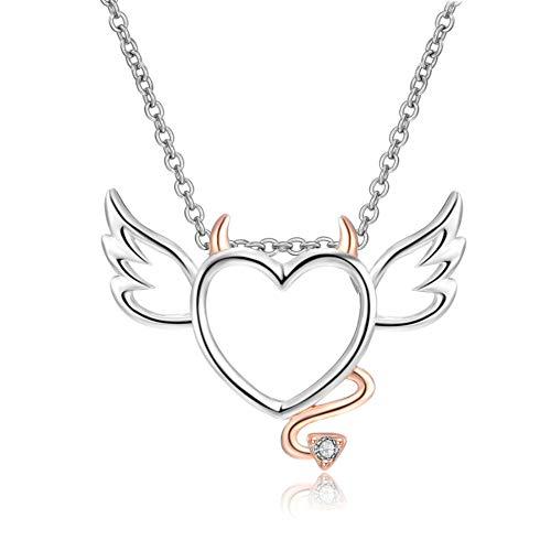 Lilloubella Heart Angel Necklace Colgante de corazón con alas 45 cm Ángel y demonio Color rosa dorado Regalos de cumpleaños para niña.