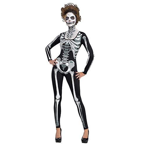 Wolverine Frauen Kostüm - GJKK Kostüme für Erwachsene Damen Halloween Skull Geist Gedruckt Jumpsuit Halloween Party Cosplay Kostüme Rundhals Zipper Bodys