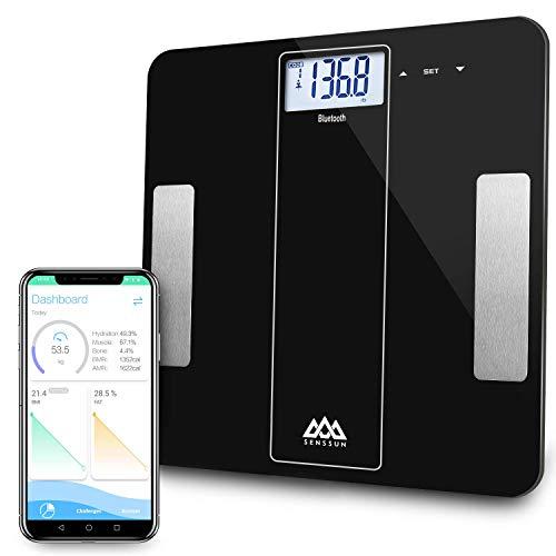 SENSSUN Smarte Körperfettwaage Bluetooth Personenwaage mit APP, Digitale Waage, Körperaufbau-Analyse für Körperfett, BMI, Gewicht, Muskelmasse, Wasser, Protein, Knochengewicht, BMR, Schwarz