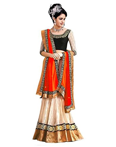 7thWonder Off-White Color Party Wear Semi-Stitched Embroidered Net Lehenga Choli With Heavy Designer Brocket Top-7WJ611LA100  available at amazon for Rs.689