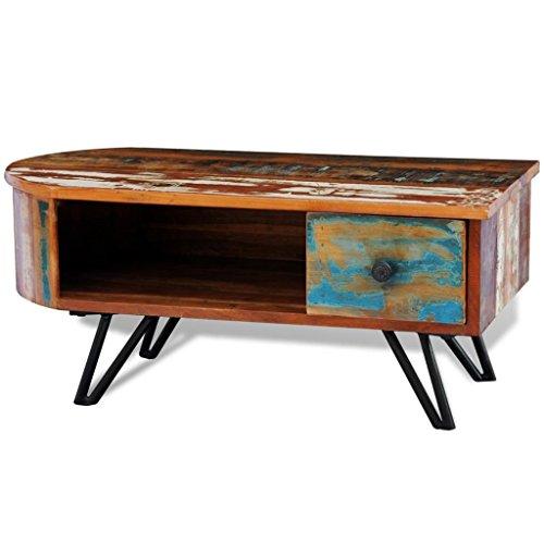 vidaXL Vintage Kaffeetisch Holz recycelt Couchtisch Wohnzimmertisch Handarbeit Eisen-couchtisch