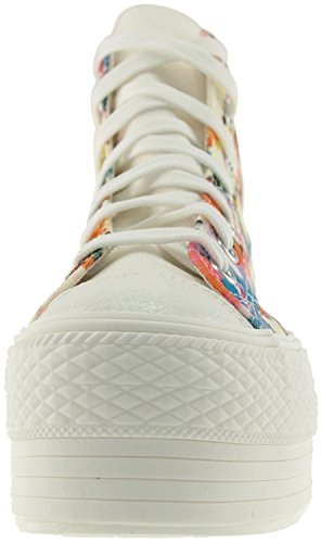 Maxstar C50 7-Fach mit Reißverschluss Fashion Platform High Top Sneakers Rosa / Blau