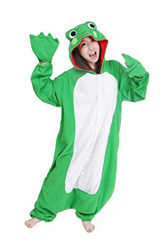 Engel Männer Köln (Honeystore Unisex Fleece Frosch Tier Jumpsuit Kostüme Hoodie Pyjamas Schlafanzug M)