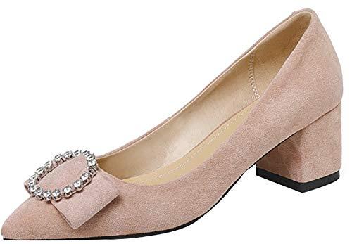 Calaier Damen Qbicf 5.5CM Blockabsatz Schlüpfen Pumps Schuhe, Pink, 39