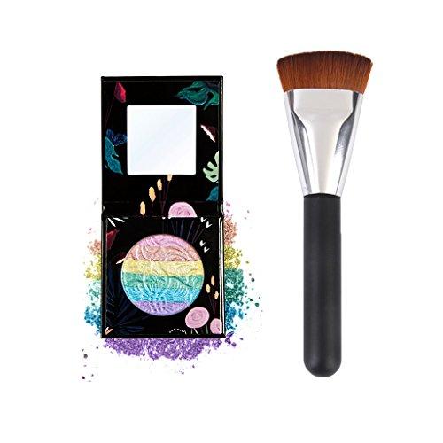 MagiDeal Trucco Evidenziatore Ombretto Shimmer Polvere Glitter + Spazzola Pennello di Legno